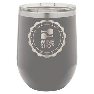 12oz. Matte Dark Grey SS Vacuum Insulated Stemless Wine Glass w/Lid