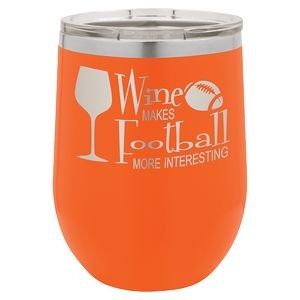 12oz. Matte Orange Vacuum Insulated Stemless Wine Glass w/Lid